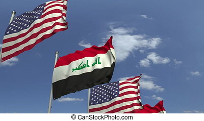 Flags of Iraq and the USA at international meeting, loopable...