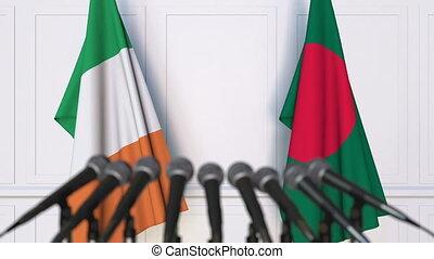 Flags of Ireland and Bangladesh at international meeting or...