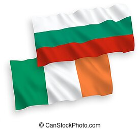 Flags of Ireland and Bulgaria on a white background -...