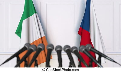Flags of Ireland and the Czech Republic at international...