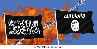 Flags of Islamic State - ISIS or ISIL and Al-Qaeda - Islamic...