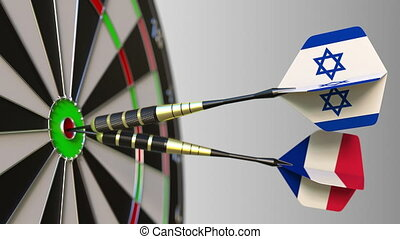 Flags of Israel and France on darts hitting bullseye of the target. International cooperation or competition animation