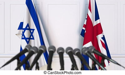 Flags of Israel and the United Kingdom at international...