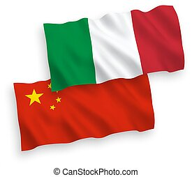 Flags of Italy and China on a white background