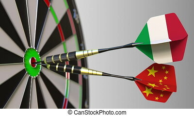 Flags of Italy and China on darts hitting bullseye of the target. International cooperation or competition animation
