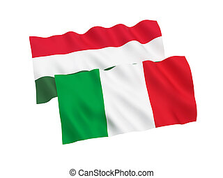 Flags of Italy and Hungary on a white background