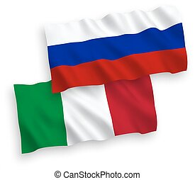 Flags of Italy and Russia on a white background