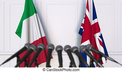 Flags of Italy and The United Kingdom at international...