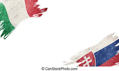 Flags of Italy and?Slovak on White Background