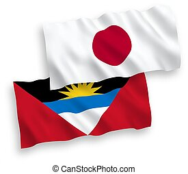 Flags of Japan and Antigua and Barbuda on a white background...