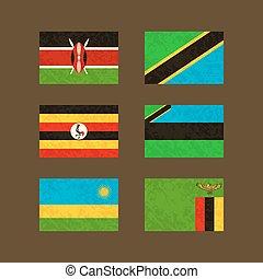 Flags of Kenya, Tanzania, Uganda, Zanzibar , Rwanda and Zambia
