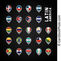 latin america countries - flags of latin america countries...