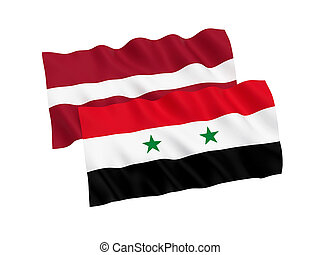 Flags of Latvia and Syria on a white background - National...