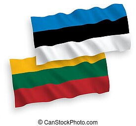 Flags of Lithuania and Estonia on a white background -...