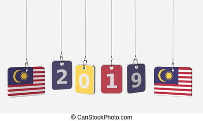 Flags of MALAYSIA and 2019 text on hanging plates. Alpha...