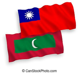 Flags of Maldives and Taiwan on a white background - ...