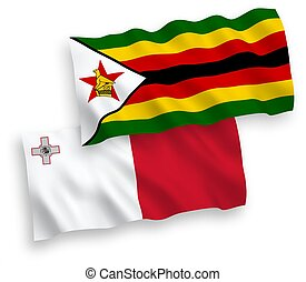 Flags of Malta and Zimbabwe on a white background - National...