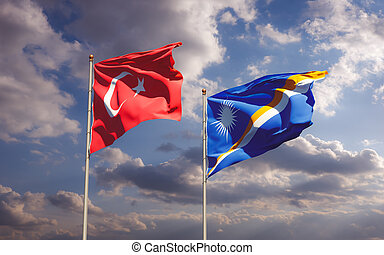 Flags of Marshall Islands and Turkey.