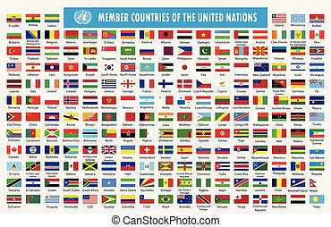 Flags of members countries of the United Nations. World ...