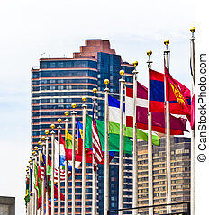 flags of members of UN in New York, America