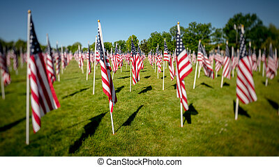 Flags of Memorial Day wave in the breeze