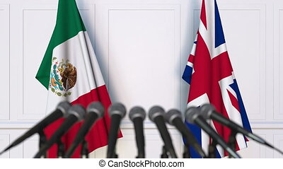 Flags of Mexico and The United Kingdom at international...