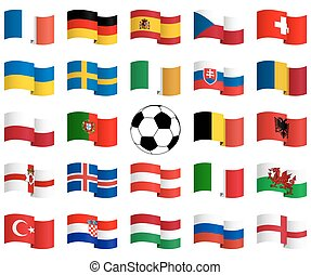 flags of national teams for soccer match
