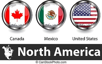 Flags of North America countries in glossy badges. Vector image