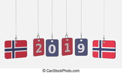 Flags of NORWAY and 2019 text on hanging plates. Alpha matte...