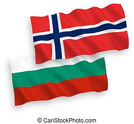 Flags of Norway and Bulgaria on a white background -...