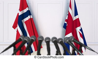 Flags of Norway and The United Kingdom at international...