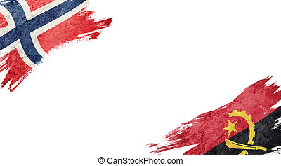 Flags of Norway and?Angola on White Background