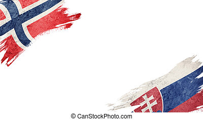 Flags of Norway and?Slovak Republic on White Background