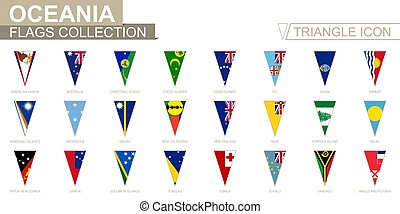 Flags of Oceania, all Oceanian flags. Triangle icon.