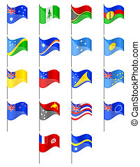 flags of Oceania countries vector illustration