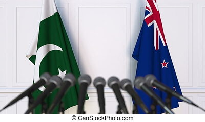Flags of Pakistan and New Zealand at international meeting...