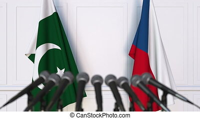 Flags of Pakistan and the Czech Republic at international...