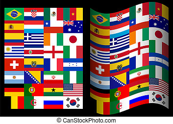 Flags of participating countries at the World Cup in Brazil on a black background