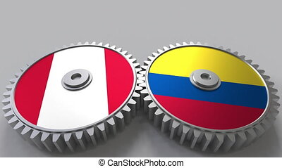 Flags of Peru and Colombia on meshing gears. International...