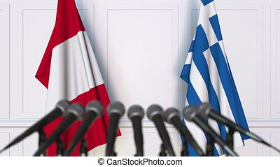 Flags of Peru and Greece at international meeting or...