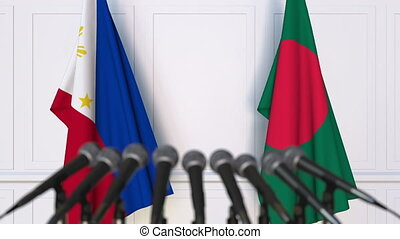 Flags of Philippines and Bangladesh at international meeting...