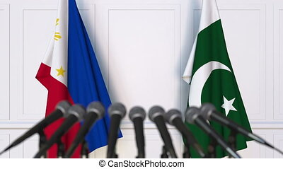 Flags of Philippines and Pakistan at international meeting...