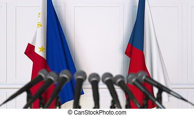 Flags of Philippines and the Czech Republic at international...