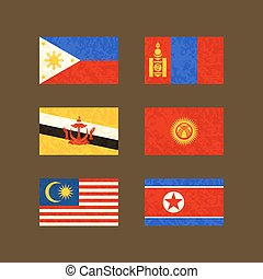 Flags of Philippines, Brunei, Malaysia, Mongolia, Kyrgyzstan and North Korea