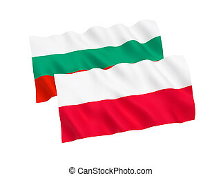 Flags of Poland and Bulgaria on a white background