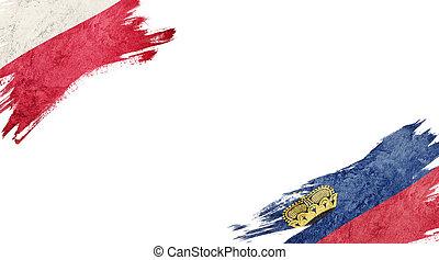Flags of Poland and Liechtenstein on white background