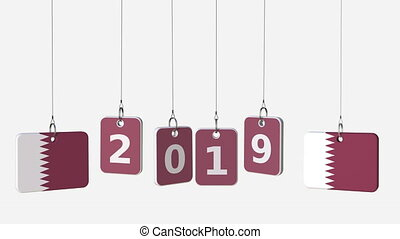Flags of QATAR and 2019 text on hanging plates. Alpha matte...