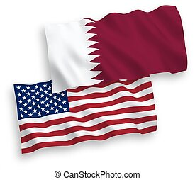 Flags of Qatar and America on a white background - National ...