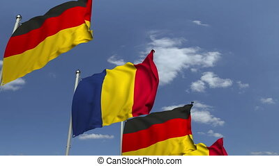 Flags of Romania and Germany at international meeting,...