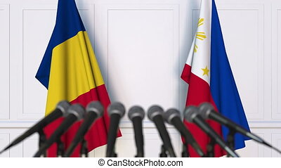 Flags of Romania and Philippines at international meeting or...